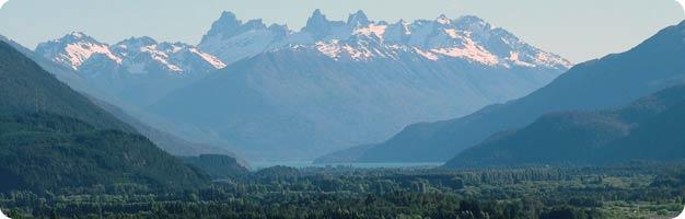 La valle El Bolsón en la Patagonía Argentina.